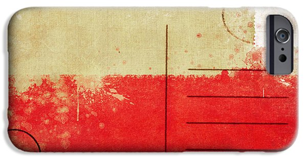 Communication Photographs iPhone Cases - Poland flag postcard iPhone Case by Setsiri Silapasuwanchai