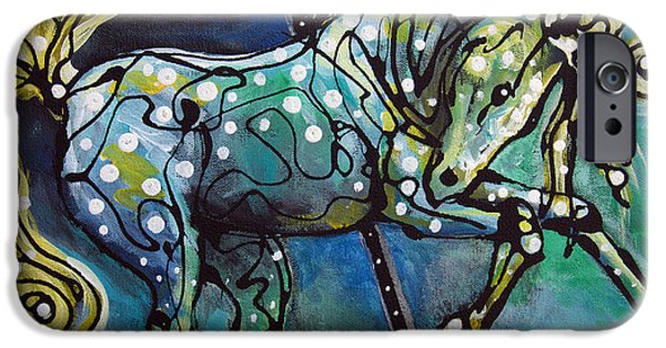 Carousel Horse Paintings iPhone Cases - Pole Dancer iPhone Case by Jonelle T McCoy