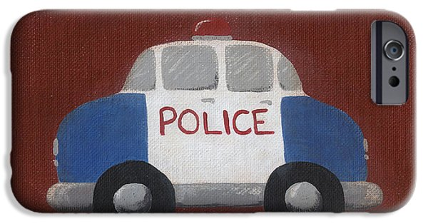 Police iPhone Cases - Police Car Nursery Art iPhone Case by Katie Carlsruh