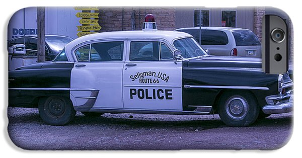Police iPhone Cases - Police Car Seligman Azorina iPhone Case by Garry Gay