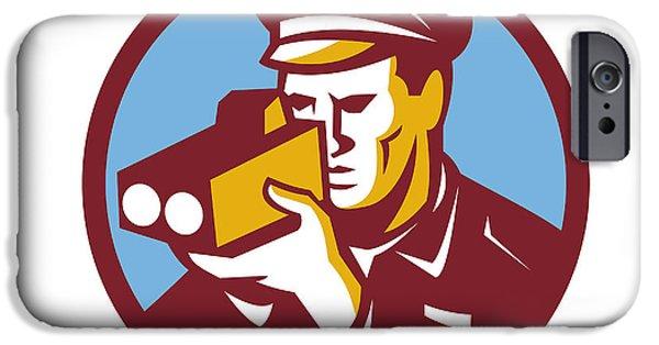Police Officer Digital Art iPhone Cases - Policeman Speed Camera Scanning Circle Retro iPhone Case by Aloysius Patrimonio