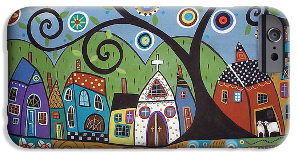 Pillow iPhone Cases - Polkadot Church iPhone Case by Karla Gerard