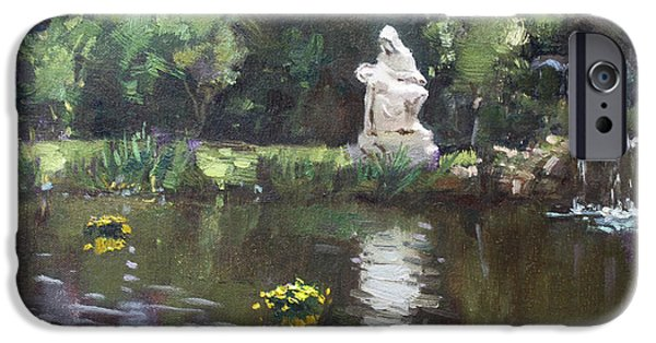 Lewiston iPhone Cases - Pond at Our Lady of Fatima Lewiston iPhone Case by Ylli Haruni