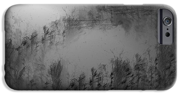 Abstract Expressionist Drawings iPhone Cases - Pond By Moonlight iPhone Case by John Krakora