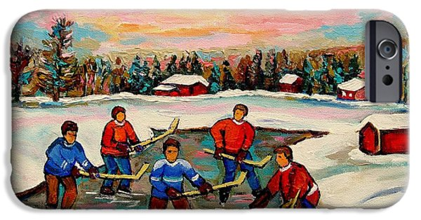 Afterschool Hockey Montreal Paintings iPhone Cases - Pond Hockey Countryscene iPhone Case by Carole Spandau