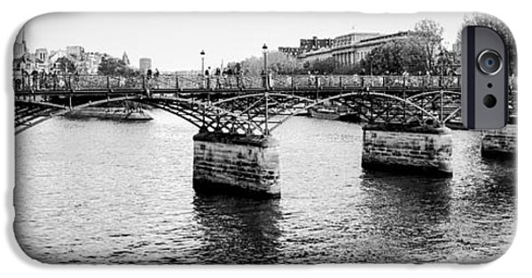 Panoramic Pyrography iPhone Cases - Pont Des Art . ARTS BRIDGR IN PANORAMIC VIEW. iPhone Case by Cyril Jayant