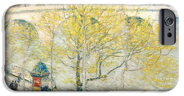 Childe iPhone Cases - Pont Royal Paris iPhone Case by Childe Hassam