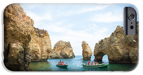 Sailing iPhone Cases - The arches of the Ponta da Piedade  iPhone Case by Anna Serebryanik