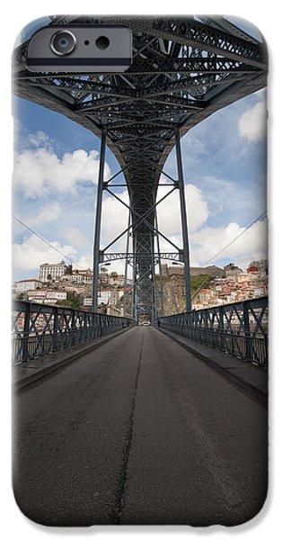 Abstract Forms Photographs iPhone Cases - Ponte Luiz I Bridge in Porto iPhone Case by Artur Bogacki