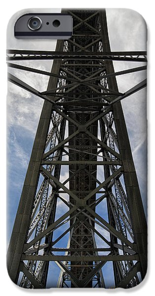 Abstract Forms Photographs iPhone Cases - Ponte Luiz I Bridge in Porto From Below iPhone Case by Artur Bogacki