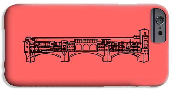 Florence iPhone Cases - Ponte Vecchio Florence Tee iPhone Case by Edward Fielding