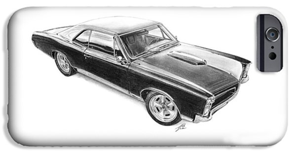 American Cars Drawings iPhone Cases - Pontiac GTO 1967 iPhone Case by Gabor Vida
