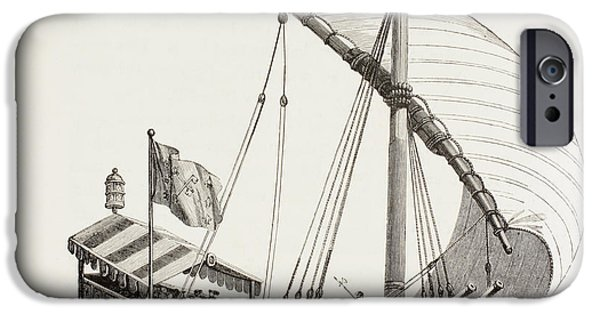 Pope Drawings iPhone Cases - Pontifical Galley With Sails, Oars And iPhone Case by Ken Welsh