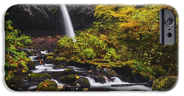 Overcast Day iPhone Cases - Ponytail falls autumn iPhone Case by Vishwanath Bhat