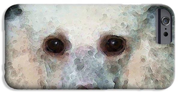 Dog Pop Art iPhone Cases - Poodle Art - Noodles iPhone Case by Sharon Cummings