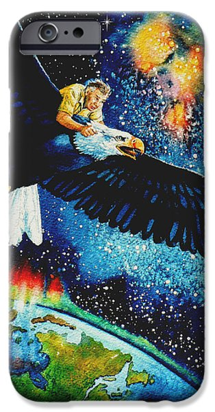 Cosmic Paintings iPhone Cases - Pooka Hill 5 iPhone Case by Hanne Lore Koehler
