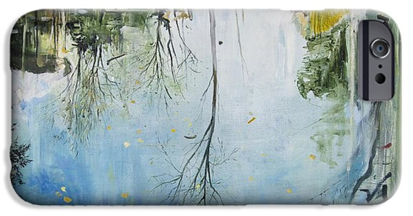 Reflecting Water Paintings iPhone Cases - Pool  Zurich iPhone Case by Calum McClure