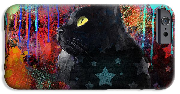 Animal Cards Mixed Media iPhone Cases - Pop Art Black Cat painting print iPhone Case by Svetlana Novikova