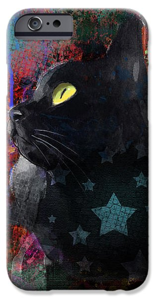 Pop Art Black Cat painting print iPhone Case by Svetlana Novikova