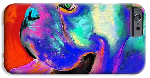 Puppies iPhone Cases - Pop Art English Bulldog painting prints iPhone Case by Svetlana Novikova