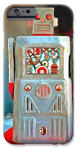Robots iPhone Cases - Pop Art Robot R-1 iPhone Case by Edward Fielding