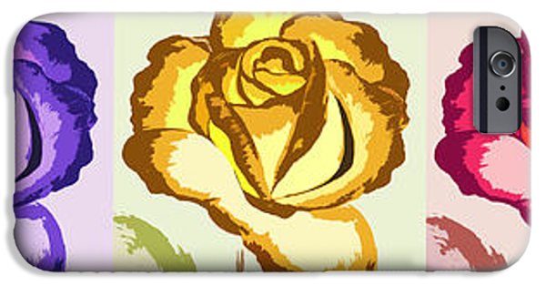 Floral Digital Art Digital Art iPhone Cases - Pop Art Roses - Horizontal iPhone Case by Gina De Gorna