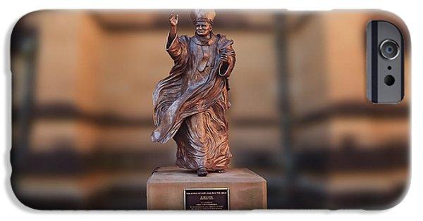 Pope Sculptures iPhone Cases - Pop JOhn Great iPhone Case by Rezwana Muktadir