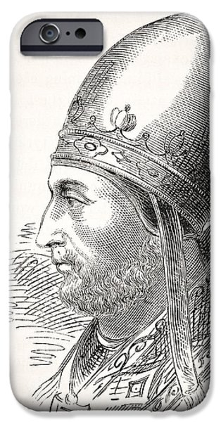 Pope Drawings iPhone Cases - Pope Adrian Iv Or Hadrian Iv Born Circa iPhone Case by Ken Welsh