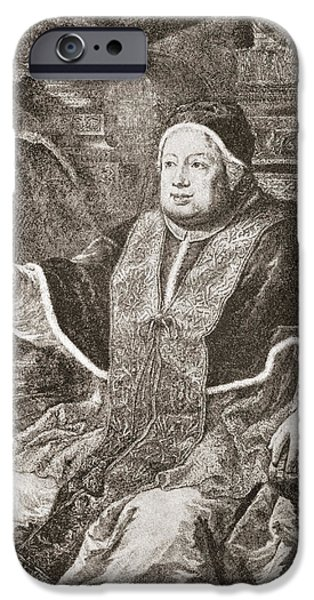 Pope Drawings iPhone Cases - Pope Clement Xiii, 1693 iPhone Case by Ken Welsh