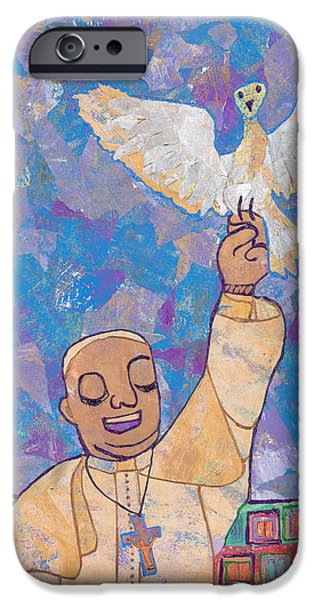 Pope Mixed Media iPhone Cases - Pope Francis and the Dove  iPhone Case by Carol Cole