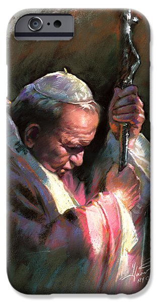Pope Pastels iPhone Cases - Pope John Paul II iPhone Case by Ylli Haruni