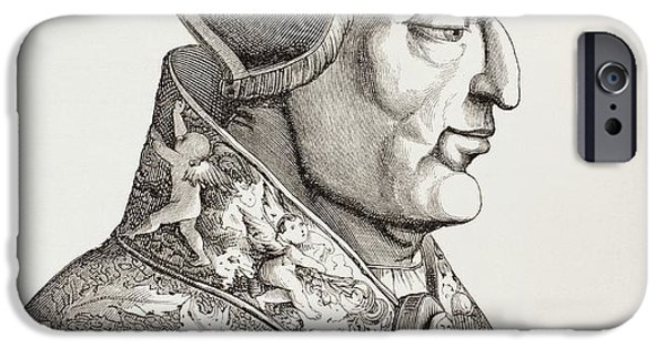 Pope Drawings iPhone Cases - Pope Leo X, 1475 iPhone Case by Ken Welsh