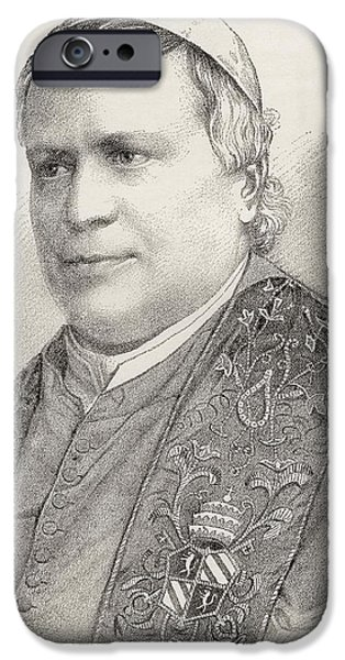 Pope Drawings iPhone Cases - Pope Pius Ix, Born Giovanni Maria iPhone Case by Ken Welsh