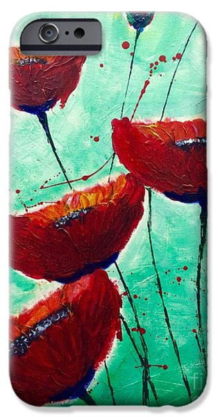 Nature Abstract iPhone Cases - Poppies  iPhone Case by Aarti Bartake