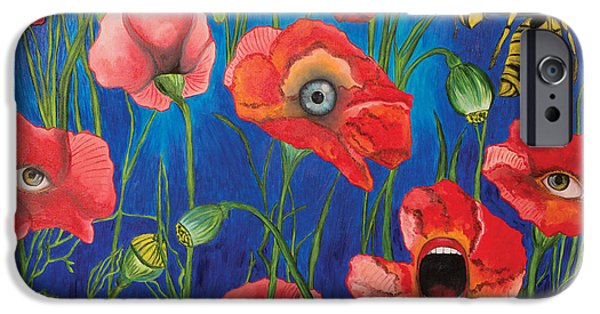 Wild Orchards Drawings iPhone Cases - Poppies iPhone Case by John Alekseev