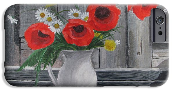 Village iPhone Cases - Poppies on a vase iPhone Case by Angelina Sofronova