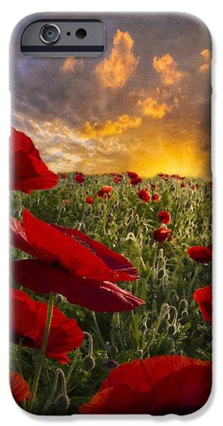 Poppy Field iPhone Case by Debra and Dave Vanderlaan