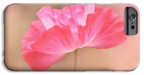 Botanical Photographs iPhone Cases - Poppy Flower - Tickle Me Pink iPhone Case by Kim Hojnacki