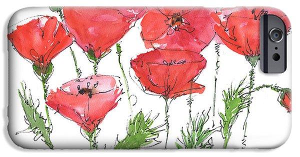 Kathleen iPhone Cases - Poppy Garden iPhone Case by Kathleen McElwaine