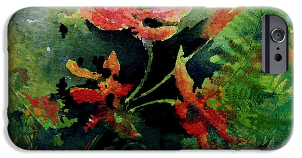 Abstract Digital Paintings iPhone Cases - Poppy Impressions iPhone Case by Hanne Lore Koehler