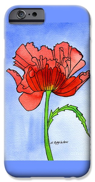 Appleton Art iPhone Cases - Poppy iPhone Case by Norma Appleton