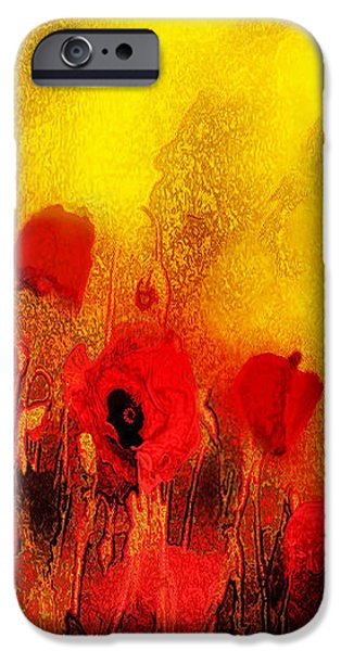 Red Abstract iPhone Cases - Poppy reverie iPhone Case by Valerie Anne Kelly