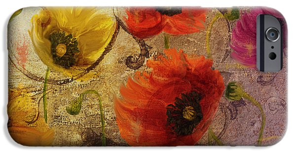 California Poppies iPhone Cases - Poppy Waltz iPhone Case by Mindy Sommers