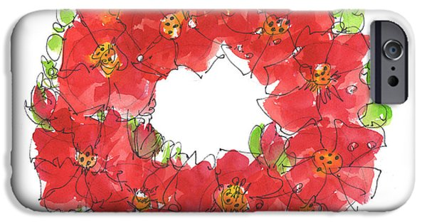 Ww1 Paintings iPhone Cases - Poppy Wreath iPhone Case by Kathleen McElwaine