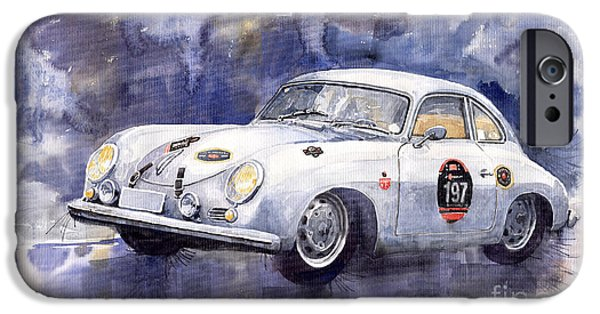 Racing Paintings iPhone Cases - Porsche 356 Coupe iPhone Case by Yuriy  Shevchuk