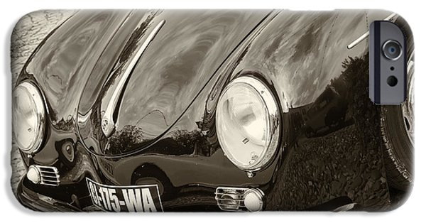 Racing iPhone Cases - Porsche 356 Lines in sepia iPhone Case by Nomad Art And  Design