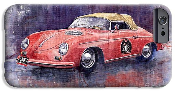 Racing iPhone Cases - Porsche 356 Speedster Mille Miglia iPhone Case by Yuriy  Shevchuk