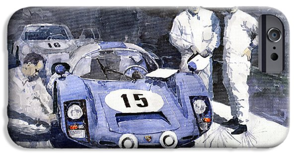 Racingcars iPhone Cases - Porsche 906 Daytona 1966 Herrmann-Linge iPhone Case by Yuriy  Shevchuk