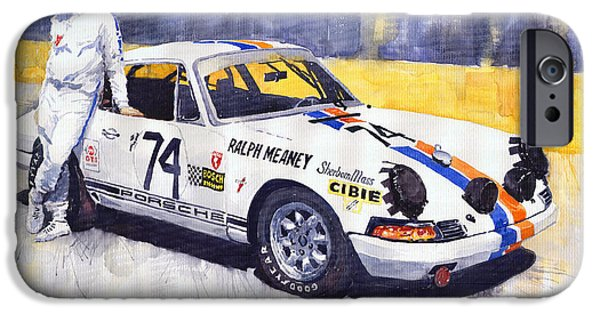 Automotive Paintings iPhone Cases - Porsche 911 Sebring 1970 Ralf Meaney iPhone Case by Yuriy  Shevchuk