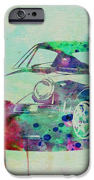 Porsche 911 Watercolor 2 iPhone Case by Naxart Studio